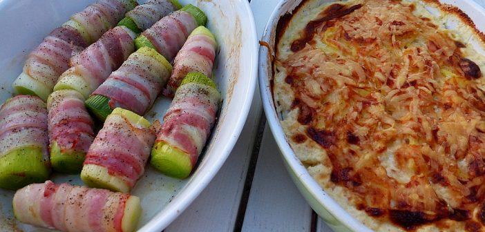 Lauch-Bacon-Röllchen an Kartoffelgratin