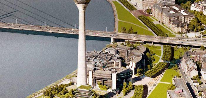 Geplante Hochhäuser am Landtag: eine verharmlosende Visualisierung