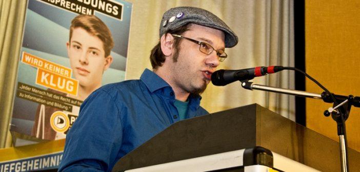 Patrick Schiffer, Landesvorstandsvositzender der Piratenpartei und sachkundiger Büger im Schulausschuss des Stadtrates