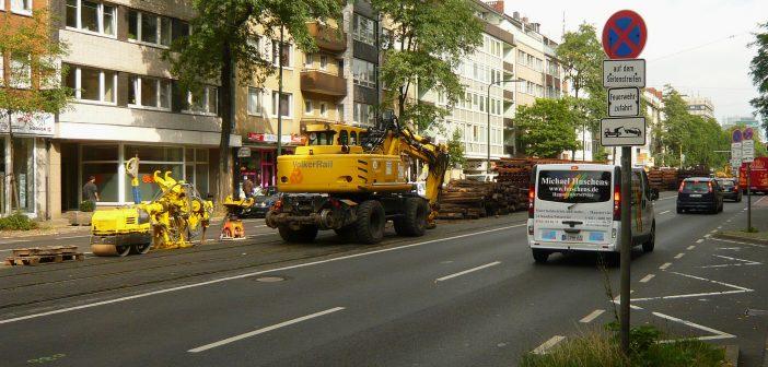 August 2010: Gleisbauarbeiten an der Corneliusstraße