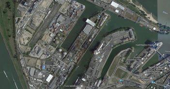 Der Düsseldorfer Hafen auf Google Maps