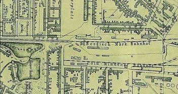 Die Lage der alten Hauptbahnhöfe am heutigen Graf-Adolf-Platz (1874)