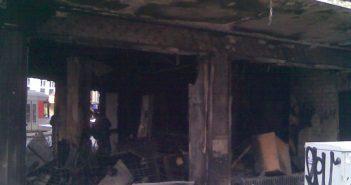 März 2009: Ausgebrannter Matratzenladen an der Corneliusstraße