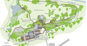 Der Lageplan mit den verschiedenen Bereichen und Gärten