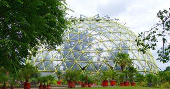 Die geodätische Kuppel im botanischen Garten