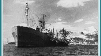 Das Walfangmutterschiff Jan Wellem vor Südgeorgien