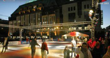 2003: Eislaufen im Winter vor dem Baubeginn (Foto: Oscar Bruch)