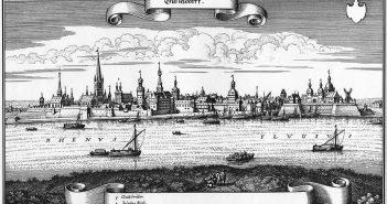 So ungefähr sah Düsseldorf vom linken Rheinufer aus gesehen im Jahr 1647 aus