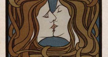 """Holzschnitt """"Der Kuss"""" - Peter Behrens' vielleicht bekanntestes Bild"""