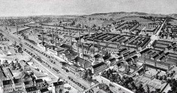 Schaubild der Glashütte 1892 (Bild: Rheinische Industriekultur)