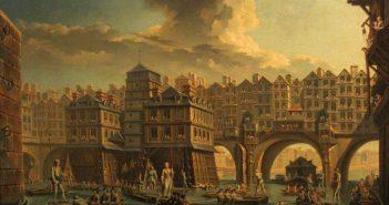 Brückenhäuser im alten Paris (Gemälde von Raguenet)