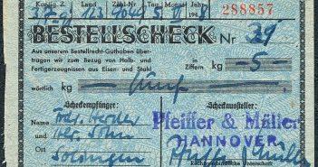 Auch solche Formulare (hier eines von 1948) druckte Bagel