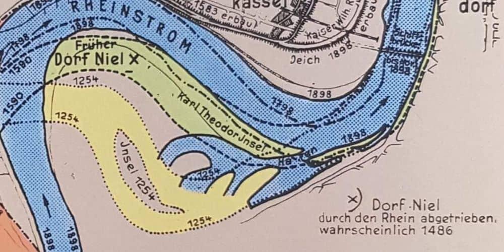 Diese Karte enthält den Hinweis auf das verschwundene Dorf Niel