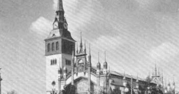 Aussenansicht der Ausstellungshalle des Bochumer Vereins auf der Gewerbeausstellung in Düsseldorf 1902, der späteren Jahrhunderthalle in Bochum