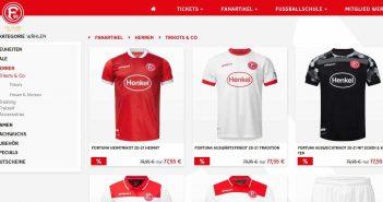 Trikots im Fortuna-Online-Fanshop (Screenshot)